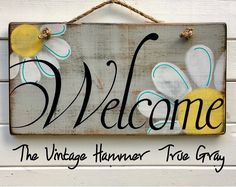 Welcome sign, wood sign saying, daisies, hand painted signs, wood sign, welcome, porch sign, rustic sign, deck sign, garden sign, colors