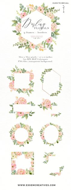 Wedding Invite Watercolor Flower PNG by Essem Creatives on @creativemarket Wedding Invite Watercolor Flower PNG Graphics, Geometric Floral Frames, Watercolor Wreath Clipart, Southwestern Theme Invitation Clipart, Peachy pink and cream floral clipart | Perfect for designing Watercolor Wedding Invitations, menu cards, welcome signs, place setting cards, save the dates, birthday party invites, feminine logos and branding, blog design and more. Click to see more>>