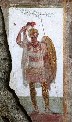 Warrior. Fresco from the House of the Trojan Sacellum. Second style. Ca. 80—20 BCE. Pompeii, The House of the Trojan Sacellum, I 6, 4