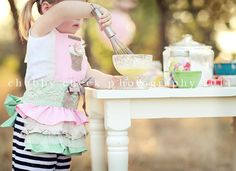 Fun idea for a toddler photoshoot~Grace would love this...she has two aprons in case she gets one dirty too~