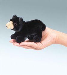 Black Bear Finger Puppet by Folkmanis Puppets at www.stuffedsafari.com