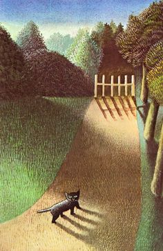 art, illustration, landscape, tree, cat, animal, lighting, naive //  Maurice Sendak ~ The Moon Jumpers, 1959.