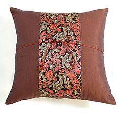 Decorative Chinese Dragons Brown Cushion Cover