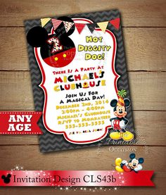 Mickey Mouse Invitation Mickey Mouse by ThePrintableOccasion Mickey Mouse Birthday Invitations, Invitation Birthday, Printable Invitations, Party Printables, White Background Photo, When You Can, Close Up Photos, Kid Names, Invitation Design