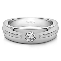 Sterling Silver Men's Wedding Fashion Ring with Cubic Zirconia (0.2 Cts.) (Two Tone Sterling Silver, Size 6.5), Two-Tone