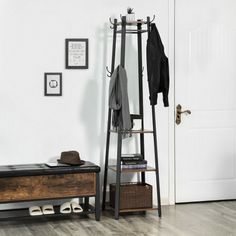 VASAGLE Coat Rack, Industrial Coat Stand with 3 Shelves, Ladder Shelf with Hooks and Clothes Rail, Metal Frame, Rustic Brown Shoe Rack For Sale, Coat And Shoe Rack, Hat And Coat Stand, Coat Stands, Coat Racks, Clothes Hanger Storage, Storage Rack, Clothes Rail, Coat Stand Hallway