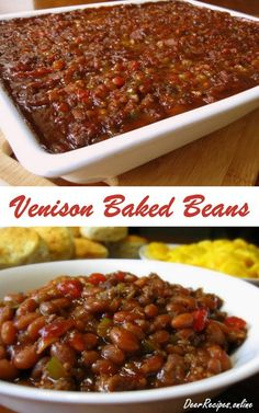 Homemade Venison Baked Beans with ground venison crispy fried bacon onions and Venison Recipes Deer Backstrap Recipes, Deer Steak Recipes, Ground Venison Recipes, Ground Deer Recipes, Venison Burgers, Venison Steak, Venison Meals, Venison Chili, Simple Baked Beans Recipe