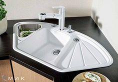 Choose a sink for kitchen - Interior Design Modern Kitchen Cabinets, Kitchen Furniture, Kitchen Interior, Kitchen Decor, Kitchen Ideas, Sink Design, Küchen Design, Small Sink, Cuisines Design