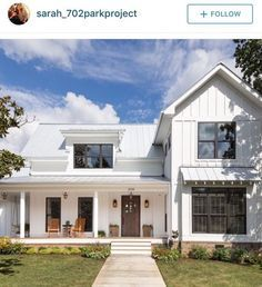 Board and batten/vertical siding, metal roof. Modern farmhouse | House ...