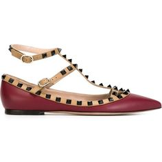 Valentino Garavani 'Rockstud' ballerinas (8 400 ZAR) ❤ liked on Polyvore featuring shoes, flats, red, red flat shoes, leather flats, red pointy toe flats, red ballet flats and ankle strap ballet flats