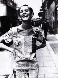 twiggy in a paper dress in london, june 1967