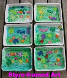 Use a styrofoam produce tray as a canvas for an art project (happy hooligans)