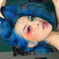 I did this at using mostly Electric palette Wearing IT Cosmetics® CC+ cream Highlight is Makeup Revolution in Peach… Makeup Inspo, Makeup Inspiration, Beauty Makeup, Hair Makeup, Hair Beauty, Aesthetic Makeup, Aesthetic Girl, Blue Hair Aesthetic, Cute Makeup