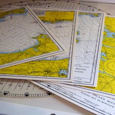Waterproof Nautical Maps of Long Island Sound and Course Plotter, U.S. Mini Charts and Wilson Course-O-Matic Plotter by BatnKatArtifacts on Etsy