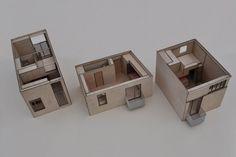 Tegnestuen Vandkunsten har tegnet tre udgaver af Basisboligen, der henholdsvis kan huse en, to og tre personer. Billeder: Tegnestuen Vandkunsten.