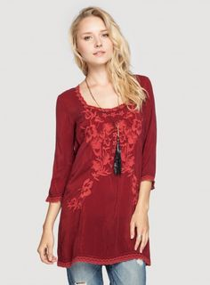 Johnny Was Pearl Tunic in Port Red