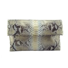 Silver gold motif python leather classic foldover clutch