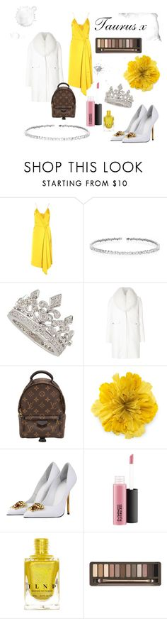 """This """"Tuarus"""" look is preeeeeettty expensive, with gucci and Victoria Beckham accents. But super cute with the yellow x  featuring Victoria Beckham, clothes, cute, yellow, nails, white, money, glam, zodaic, taurus, scorpio, aries, jewels, shoes, dress, coat, Moncler Gamme Rouge, Versace, Louis Vuitton, Gucci, Garrard, Suzanne Kalan and Urban Decay"""