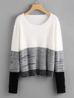 Color Block Fluffy Jumper -SheIn(Sheinside)