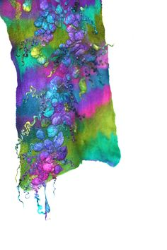 Felted Scarf Long Textured Wool Silk Hand Dyed by FeltedPleasure