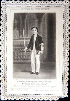 Antique 1870's French Lace Holy Card ... Young Boy ... 1st Communion