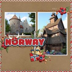 Disney Scrapbook page layout of Epcot Norway Pavilion by Susan uses A View of Norway Kit by Capturing Magial Memories #DisneyScrapbooking #DisneyMemories