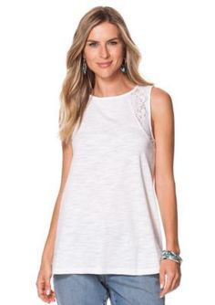 Chaps  Lace-Trimmed Jersey Tank