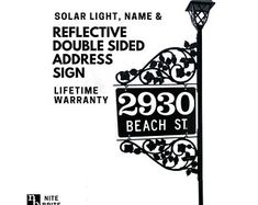 Driveway Address Sign - Double Sided Reflective Address 911 with pole & double scroll and 2 plant hooks with Solar Light Address Sign Address Numbers, Address Signs, Plant Hooks, Emergency Responder, Gift Bows, House Numbers, Polka Dot Print, Solar Lights, Gifts For Him