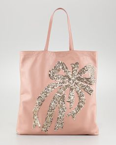 RED Valentino Sequin Bow Tote - Neiman Marcus Napa Leather, Luggage Bags,  Love Fashion 565597769d