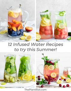 12 Super Refreshing Infused Water Recipes Try our super refreshing infused water recipes this summer These 12 tasty ideas for infused water will help you benefit from st. Fruit Water Recipes, Flavored Water Recipes, Fruit Infused Water, Infused Waters, Drink Recipes, Water Infusion Recipes, Cocktail Recipes, Healthy Smoothies, Healthy Drinks