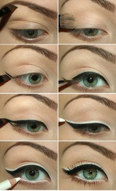 How to Apply Black and White Eyeliner....... though maybe a little thinner on the black