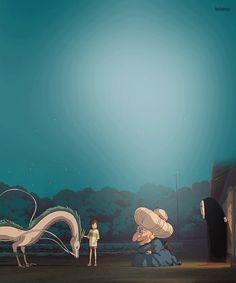 Hayao Miyazaki - Animated Gif - Spirited Away Hayao Miyazaki, Film Animation Japonais, Animation Film, Chihiro Y Haku, Studio Ghibli Movies, Film D'animation, Castle In The Sky, Howls Moving Castle, Film Studio