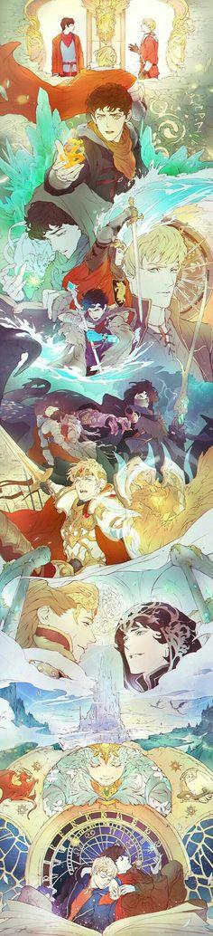 Fanart: The Emrys Chronicles - mushroomtale - Merlin (TV) [Archive of Our Own] Merlin, Merthur Colin Morgan, Fan Art, Pinterest Arte, Merlin Fandom, Merlin And Arthur, King Arthur, Bradley James, Fandoms, Film Serie