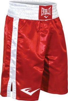 "Everlast Standard Bottom of Knee Boxing Trunks - Small - Red/White by Everlast. $34.50. The new 4-inch waistband with re-designed elastic ensures a snug fit around the cup to avoid slippage. A wider leg opening, high leg slits and adjusted inseam allow increased mobility and freedom when competing and training. › Bottom of the knee (24"") › All trunks are made of high-quality satin"