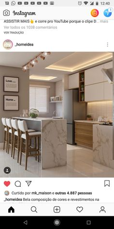 Cozinha 1 Modern Kitchen Cabinets, Kitchen Cabinet Design, Luxury Kitchen Design, Interior Design Kitchen, Pantry Design, Elegant Home Decor, Minimalist Kitchen, Home Decor Kitchen, Kitchen Styling