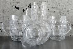 4 Vintage Thumbprint/Dimple Dot Ale/Beer/Soda Pint/Pub Glass/Mug/Stein Made in England by Ravenhead Glass Vintage Glassware Retro Mixology by MidModery on Etsy