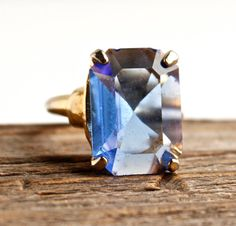 Vintage Blue Glass Stone Ring  Adjustable Gold by MaejeanVINTAGE, $18.00