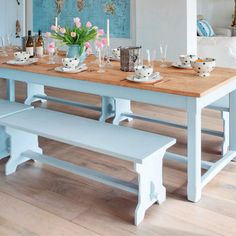 Pastel blue benches