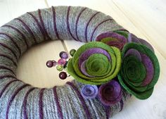 Yarn Wreath Felt Handmade Door Decoration - Green with Envy 8in