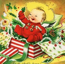 Vintage Christmas Capers Greeting Card Charlot Byj Cherub In a Present EB6031