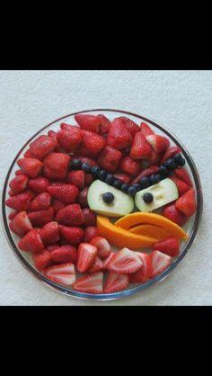 Angry bird fruit plate