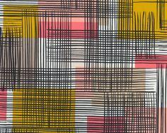Feiner+Popeline-Patchworkstoff+MAKER,+großes+Streifen-Karo,+goldgelb-lachsrot