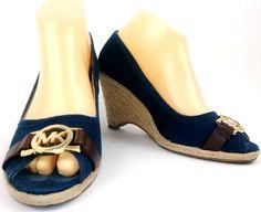 35409dde29f Michael Kors Womens Espadrille Wedge Sandals Size 8 Navy Blue Brown MK Logo