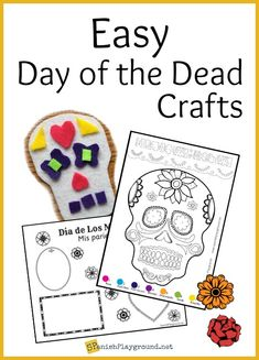 Easy Day of the Dead crafts to teach language and culture. Día de los Muertos art and craft activities to do with kids learning Spanish.