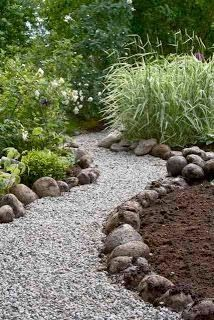 Pathway idea, bigger stones keep the gravel in place, gravel allows rain water to drain through.