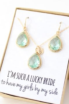 Prasiolite Necklace and Earrings Set - Personalized Mint Bridesmaid Jewelry