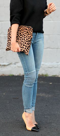 One of our favorite edgy pieces this fall is a skinny jean featuring moto-style knees! For a perfect on-the-go look, pair with a neutral sweater and finish off with heels and your go-to bag.
