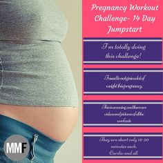 Its so hard to get moving and exercising during pregnancy. Join this 2-Week Pregnancy Workout Challenge to jumpstart your health and fitness this pregnancy. Daily short workouts to do at home. And there are pictures and videos of all the workouts, this is great!  http://michellemariefit.com/pregnancy-workout-challenge-14-day-jumpstart/