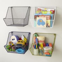 Kids Storage: Wire Wall Storage Bins - Blue Down to the Wire Wall Bin and other furniture & decor products. Wall Basket Storage, Hanging Storage, Baskets On Wall, Wire Baskets, Laundry Baskets, Metal Wall Basket, Metal Bins, Book Baskets, Hanging Baskets