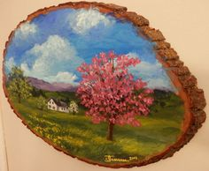 Hand Painted Wood Plaque Spring Landscape by GiftsbySuzanne